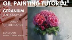 """Tutorials in the Gary Jenkins Style (flowers) and Bob Ross Style ( landscape). Eline Ulaen Dutch artist, she immersed herself in various techniques. Those of the old masters, impressionists, contemporary Russian painters and American painters. Especially the """"old-school"""" wet-on-wet painting appealed to her. Specialty: - large abstract backgrounds with flowers - oil painting fast techniques, wet-on-wet painting. Gary Jenkins, Wet On Wet Painting, Oil Painting Flowers, Dutch Artists, Bob Ross, Old Master, Geraniums, Abstract Backgrounds, Impressionist"""