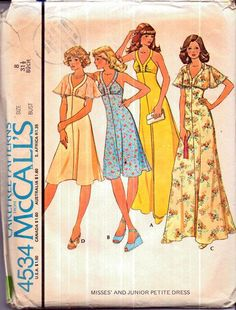 Items similar to Vintage McCalls 4534 Misses Sundress, Halter Dress with Optional Cape Sleeves Sewing Pattern Size 8 Bust on Etsy Mccalls Sewing Patterns, Simplicity Sewing Patterns, Vintage Dress Patterns, Vintage Dresses, Miss Dress, Vintage Knitting, Retro Outfits, Summer Girls, Trending Outfits