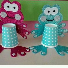 Paper Crafts Origami, Paper Crafts For Kids, Diy And Crafts, Arts And Crafts, Frog Crafts, Cup Crafts, Preschool Crafts, Art N Craft, Craft Work