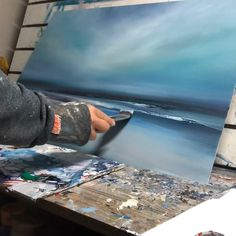 Working on a new painting… After the initial ground I am building layers of paint and looking for the composition to emerge. Working on a new painting… After the initial ground I am building layers of paint and looking for the composition to emerge. Canvas Painting Landscape, Seascape Paintings, Art Paintings, Sheffield Art, Art Original, Pastel Art, Fine Art, Art Techniques, Composition