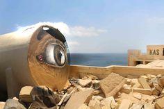 Ojo pintado por Art Kas, artista de la calle de Portugal