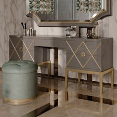 Art Deco Inspired Italian Designer 5 Drawer Dressing Table at Juliettes Interiors, a large collection of High End Designer Italian Furniture.