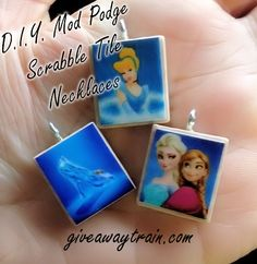 Disney themed scrabble tile necklace craft - using Mod Podge!