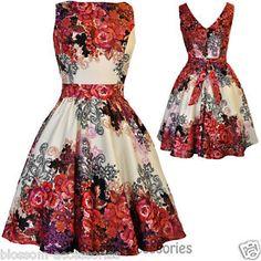 RKL2 Lady Vintage Hepburn Red Rose Floral Tea Dress 50s Swing ...