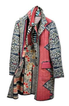 Joanna John coat made from vintage dowry textiles