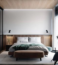 Modern private house on Behance Hotel Bedroom Design, Modern Bedroom Design, Master Bedroom Design, Home Decor Bedroom, Bed Design, Bedroom Furniture, Furniture Design, House Design, Loft Interiors