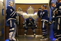 TORONTO, ON - DECEMBER 11: Morgan Rielly #44 of the Toronto Maple Leafs waits to start warm-up with teammates Frederik Andersen #31, and Zach Hyman #11 before playing the Colorado Avalanche at the Air Canada Centre on December 11, 2016 in Toronto, Ontario, Canada. (Photo by Kevin Sousa/NHLI via Getty Images)