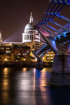 St Paul's Cathedral + Millennium Bridge, London, England