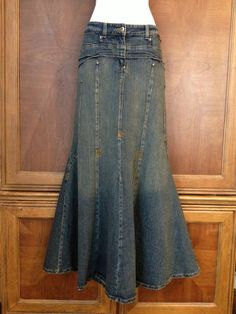 Bisou Bisou Jeans Denim Skirt Long Boho Peasant New Blue