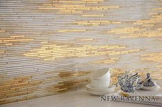 Reve, a handmade mosaic shown in 24K Gold Glass and Agate and Quartz Jewel Glass, is part of the Aurora™ Collection by Sara Baldwin for New Ravenna.  Copyright New Ravenna ®