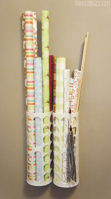 Wrapping paper storage using Ikea plastic bag holders