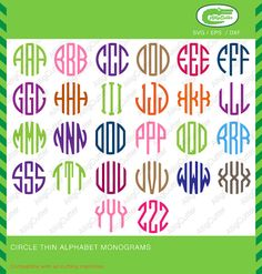 Circle Thin Alphabet Monogram SVG DXF PNG eps font by Alligcutter