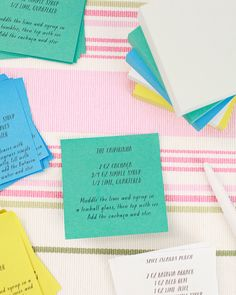 Oh So Beautiful Paper: DIY Tutorial: Post-it Brand World of Color Collections Cocktail Party Menu