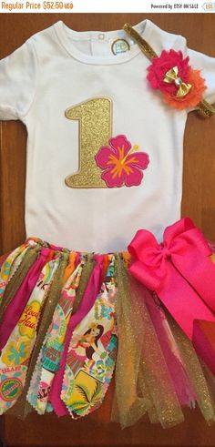 Aloha hibisco flor tela tutú traje de cumpleaños chatarra