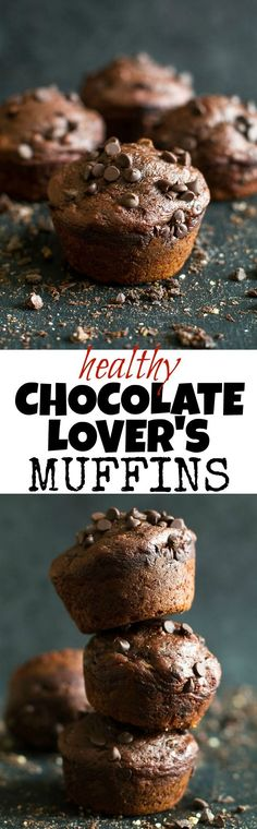 These Healthy Chocolate Lover's Muffins are so tender and flavorful that you'd never guess they're made without any butter, oil, or refined sugar. A healthy and DELICIOUS way to satisfy those chocolate cravings! | runningwithspoons... #recipe #desserts