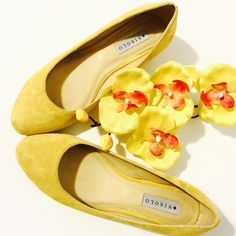 """Nisolo Yellow Suede Wedges Sunny & bright! Nothing makes me happier than shoes; thrown in some unexpected color and I'm over the moon. 1"""" suede wedge heels are in great condition Nisolo Shoes Wedges"""