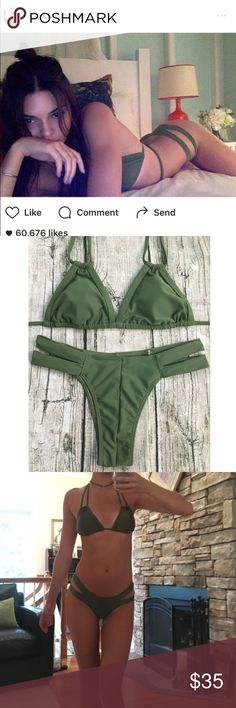 Green Strappy Bikini As summer ends I'm having a swim sale! seen on Kendall Jenner.                                    ❣️Brand new with hygienic liner attached ❣️Offering a 20% off bundles for a limited time! ❣️Not from listed brand, comes from vendor. ❣️Fast shipper (same or next day) ❣️No trades please  ❣️Comes with top & bottom ❣️No mixing and matching sizes, sorry! ❣️Fabric: Polyester  ❣️ Wire Free Tags; Nasty Gal, Acacia Swimwear, MIKOH, Beach Riot, Kiini, Posh Pua, Frankie's Bikinis…