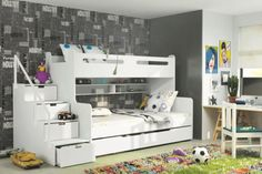Brand-New-Kids-Children-Bunk-Bed-Bed-Max-3-White-with-Mattresses-Storage