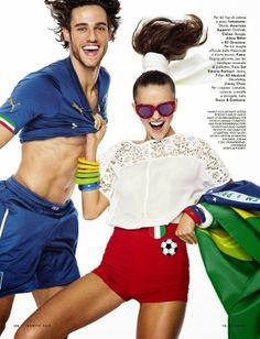 """GOL!"": Kristina Romanova & Jordan & Zac Stenmark by Stewart Shining Vanity Fair Italia 18 June 2014 | The Terrier and Lobster | cynthia reccord"