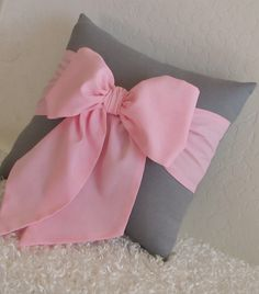 Grey and Pink Bow Accent Throw Pillow 12 x 12 by pillowsbycindee, $20.00