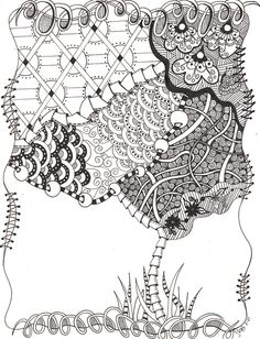 Zentangle tree-like the circle pattern as a background