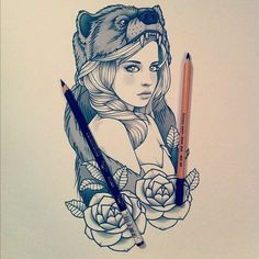 tattoo design #wolf #rose #girl