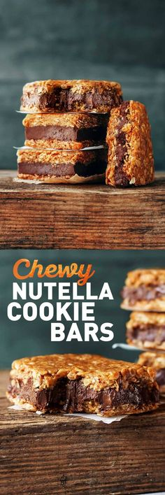 Chewy Nutella Oatmeal Cookie Bars #nutella #vegan #bars
