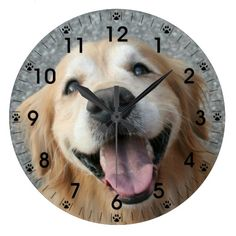 Smiling Golden Retriever Wall Clock by #AugieDoggyStore.  50% OFF until midnight PT 12/05/13 with code FIVEFIFTY235