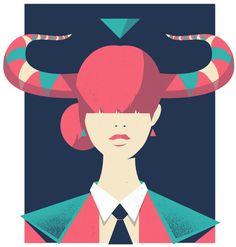 Taurus Zodiac Horoscope illustration Print by Studio Posti Taurus Art, Sun In Taurus, Astrology Taurus, Sagittarius And Capricorn, Zodiac Horoscope, Astrology Signs, Chinese Zodiac Signs, Zodiac Art, Taurus