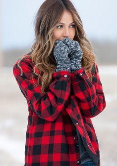 Plaid Warmth + Knit Mittens