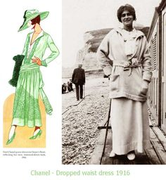 Coco-Chanel-1916-Fashion-dropped-waist-dress. With Chanel's fondness for simplicity – as early as 1916 in Harpers Bazaar, a Chanel design showing a chemise dress with a belt detail that is definitely drop waist!