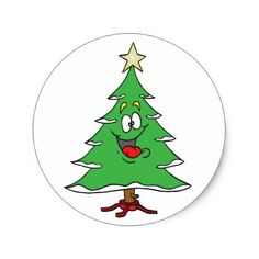 CHRISTMAS STICKER WITH CHRISTMAS TREE PERSON CLASSIC ROUND STICKER - kids stickers gift idea diy decor birthday sticker children christmas gifts presents