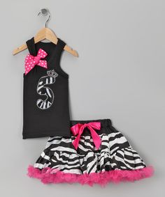 Take a look at this Black Zebra 5 Tank & Pettiskirt - Girls by So Girly & Twirly on #zulily today!