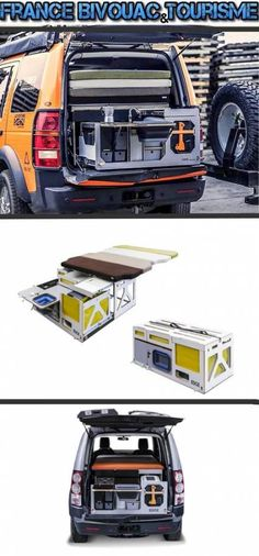 Camping box Nestbox: Travel box to place in the trunk, and transforms your vehicle van, MPV, bivouac-car or mini camper. Land Rover Discovery Boot arrangement for sleeping and self-driving. Kangoo Camper, Suv Camper, Mini Camper, Camper Van, Land Rover Discovery, Truck Tent Camping, Land Rover Camping, Camping Trailers, Jeep Cars