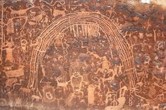 Detail of the Rochester Rock Art Panel in Emery County, Utah