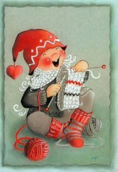 Gnome knitting by Toivanen (Finnish Artist) Unposted postcard Vintage Christmas Cards, Xmas Cards, Vintage Cards, Christmas Crafts, Merry Christmas, Country Paintings, Happy Paintings, Knitting Quotes, Creation Photo