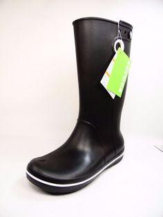 15580826f crocs Womens Crocband Jaunt Rain Boot Black Size 7  Crocs  Rainboots