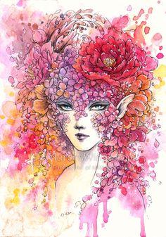 Original Art - Floral Masquerade 3,5 x 5 Zoll - Free US Shipping - Tinte und Aquarell Mischtechnik Fantasy Illustration von Mitzi Sato-Wiuff...