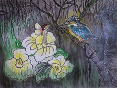 ILLUSTRATION Mixed Media/canvas Kingfisher, Mixed Media Canvas, Fairy, Fantasy, Illustration, Flowers, Painting, Common Kingfisher, Painting Art