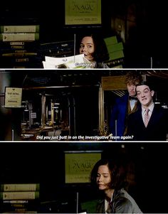 Fantastic Beasts - Tina hiding fom Abernathy Abernathy, a pompous jobsworth, enters. He immediately realizes where Tina is hidden. Tina, looking guilty, slowly emerges from behind the desk.