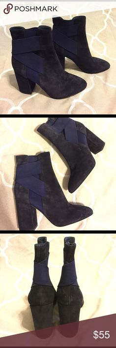 Via Spiga Drew Booties These are one of a kind. I don't think they ever made it to production. These were a sample that was never worn. I don't have a box for them. Some minor storage wear. Black with navy accent. No trades. Via Spiga Shoes Heeled Boots