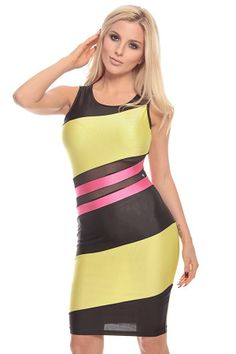 BLACK YELLOW FUCHSIA COLOR-BLOCK SLEEVELESS BODY-CON DRESS,$27.99 #worldoffashion #wanderable #fashionstyle #dress #dresses #springdresses #partydress #lacedresses #halterdresses #minidresses #spring #springcollection #cute #fun #2014 #springtime #springfling #springfun #2014spring #springbreak #springfun #funinthesun #dressing #partydressing
