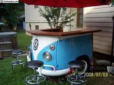 VW Bus Bar ~ Vehicular Furnishings and Automotive Decor Car Part Furniture, Automotive Furniture, Automotive Decor, Furniture Making, Automotive Engineering, Automotive News, Automotive Industry, Garden Furniture, Volkswagen Bus