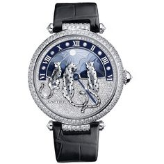 The Rêves de Panthères watch by Cartier ❤ liked on Polyvore featuring jewelry, watches, white gold jewelry, white gold jewellery and white gold watches