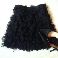 saleLOFT textured black skirt So cool. With chiffon like detail, modern twist on ballerina skirt. Light, soft and playful. Waist appx 17, length 18 LOFT Skirts