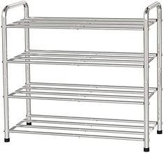 "FANHAO 4-Tier Shoe Rack, 100% Stainless Steel Shoe Storage Organizer, Stackable 12-Pair Storage Shelf for Bedroom, Closet, Entryway, Dorm Room, 23.6"" W x 10.24"" D x25.6 H (Silver) Shoe Storage Organiser, Shoe Organizer, Storage Shelves, Storage Organization, 4 Tier Shoe Rack, Shoe Rack With Shelf, Stackable Shoe Rack, Steel Shoes, Metal Pole"