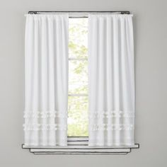 """There's not just one, but two ruffles for a decidedly girly feel. Details, details Allows natural light to filter through 3"""" rod pockets Panels sold separately Available in 44 x 63"""" and 44 x 84"""" Imported Click to see Curtain Measuring Guide More colors availableShow 'em what you're made of 100% Cotton Cotton lining Click here to order Complimentary SwatchesCare instructions Machine washable."""