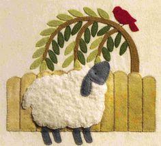 Brandywine Designs Sheep and Bird felt applique scene
