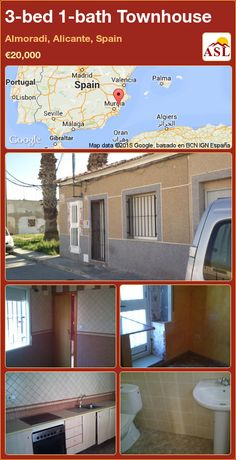 Townhouse for Sale in Almoradi, Alicante, Spain with 3 bedrooms, 1 bathroom - A Spanish Life Valencia, Portugal, Alicante Spain, Tree Line, The Locals, Dining Area, Great Places, Townhouse, Golf Courses