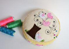 felt  pincushion hand embroidered wool felt by SimonsCatShop